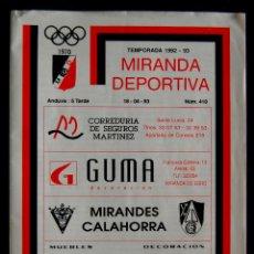 Coleccionismo deportivo: REVISTA MIRANDA DEPORTIVA Nº 376. (EQUIPO FUTBOL MIRANDES - LEMONA). TEMPORADA 1990-1991.. Lote 52009694