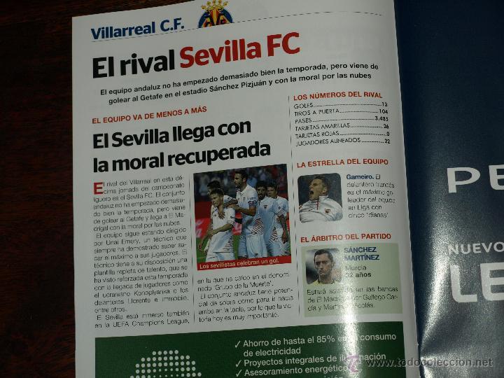Coleccionismo deportivo: REVISTA OFICIAL VILLARREAL CF VS SEVILLA FC. 31 OCTUBRE 2015.16 PAG. 15 X 21 CM. VER FOTOS. - Foto 4 - 52459773