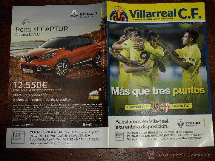 Coleccionismo deportivo: REVISTA OFICIAL VILLARREAL CF VS SEVILLA FC. 31 OCTUBRE 2015.16 PAG. 15 X 21 CM. VER FOTOS. - Foto 5 - 52459773
