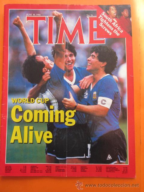 REVISTA COMPLETA TIME 30 JUNIO 1986 - MARADONA LA COPA DEL MUNDO PLATINI - INGLES (Coleccionismo Deportivo - Revistas y Periódicos - otros Fútbol)