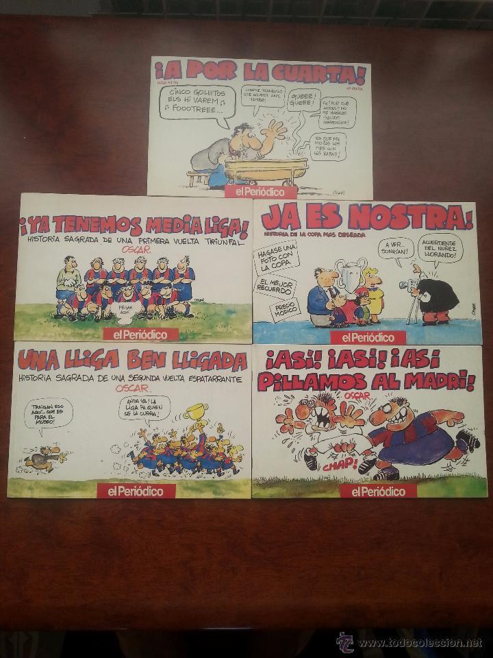5 LIBROS DE VIÑETAS DEL DIBUJANTE OSCAR EL PERIDODICO DE CATALUÑA .AÑO 1990 F.C.BARCELONA BARÇA (Coleccionismo Deportivo - Revistas y Periódicos - otros Fútbol)