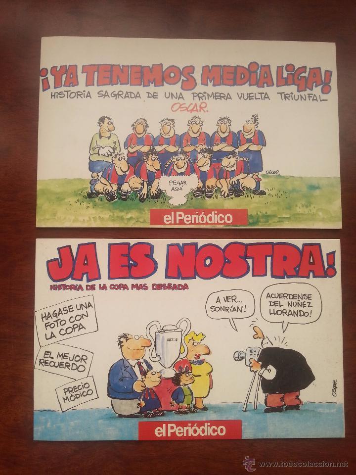Coleccionismo deportivo: 5 LIBROS DE VIÑETAS DEL DIBUJANTE OSCAR EL PERIDODICO DE CATALUÑA .AÑO 1990 F.C.BARCELONA BARÇA - Foto 2 - 52909603