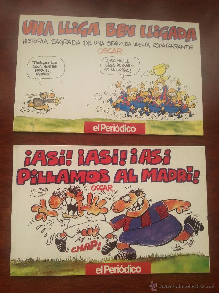 Coleccionismo deportivo: 5 LIBROS DE VIÑETAS DEL DIBUJANTE OSCAR EL PERIDODICO DE CATALUÑA .AÑO 1990 F.C.BARCELONA BARÇA - Foto 3 - 52909603