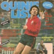 Coleccionismo deportivo: QUINIELISTA. Nº 107. LIGA 1986 - 1987. 86 - 87. CON PÓSTER DEL CLUB ATLÉTICO OSASUNA. VER FOTO.. Lote 53024834