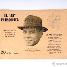 Coleccionismo deportivo: EL AS FUTBOLISTA FOLLETO ENCUADERNABLE DE FOTOGRAFIAS DE FUTBOL Nº1 RICARDO ZAMORA. Lote 53371188