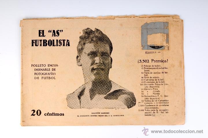 EL AS FUTBOLISTA FOLLETO ENCUADERNABLE DE FOTOGRAFIAS DE FUTBOL Nº12 AGUSTIN SANCHO (Coleccionismo Deportivo - Revistas y Periódicos - otros Fútbol)
