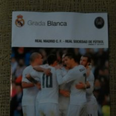 Coleccionismo deportivo: REAL MADRID -REAL SOCIEDAD 30/12/2015 GRADA BLANCA. Lote 53555427