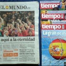 Coleccionismo deportivo: MUNDIAL 2010: 9 PERIÓDICOS (EL PAÍS, EL MUNDO) Y 3 REVISTAS (TIEMPO) DE JULIO DE 2010, SELECCIÓN ESP. Lote 55786885
