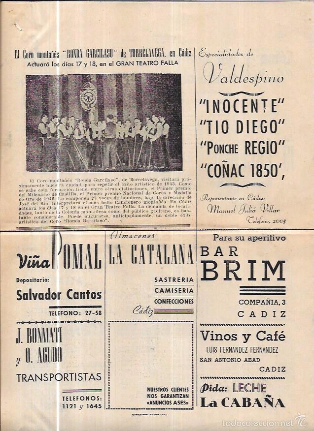 Coleccionismo deportivo: ASES. FOLLETO DEPORTIVO GADITANO. AÑO 1945. - Foto 2 - 56587243