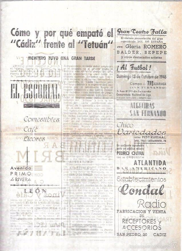 Coleccionismo deportivo: ASES. FOLLETO DEPORTIVO GADITANO. AÑO 1945. - Foto 3 - 56587243
