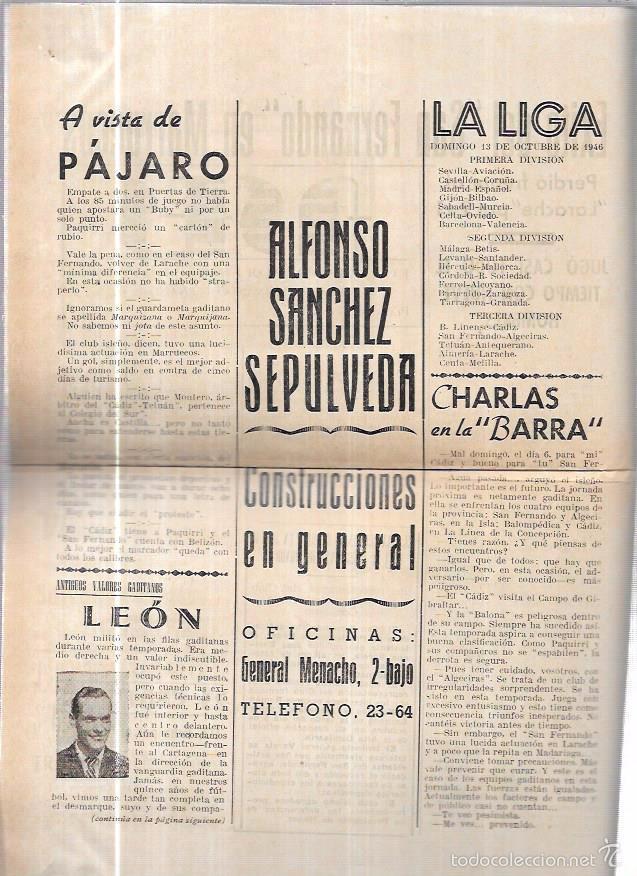 Coleccionismo deportivo: ASES. FOLLETO DEPORTIVO GADITANO. AÑO 1945. - Foto 4 - 56587243