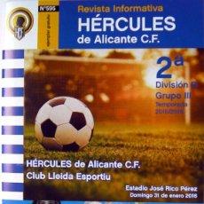 Coleccionismo deportivo: FUTBOL REVISTA HERCULES DE ALICANTE - LERIDA LLEIDA ESPORTIU-ESTADIO RICO PEREZ 2016. Lote 56667913