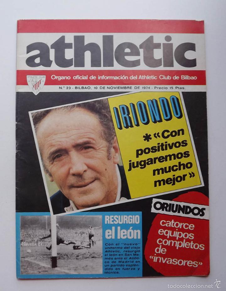 ATHLETIC DE BILBAO, REVISTA OFICIAL NÚMERO 23, IRIONDO, 1974 (Coleccionismo Deportivo - Revistas y Periódicos - otros Fútbol)