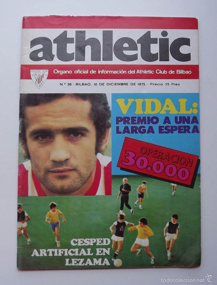 ATHLETIC DE BILBAO, REVISTA OFICIAL NÚMERO 36, VIDAL, 1975 (Coleccionismo Deportivo - Revistas y Periódicos - otros Fútbol)