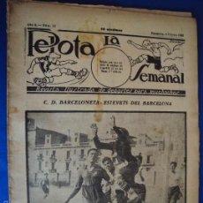 Coleccionismo deportivo: (F-1625)PELOTA LA SEMANAL , Nº 13 , 8 FEBRERO 1923. Lote 57490757