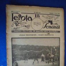 Coleccionismo deportivo: (F-1626)PELOTA LA SEMANAL , Nº 12 , 31 ENERO 1923. Lote 57490790