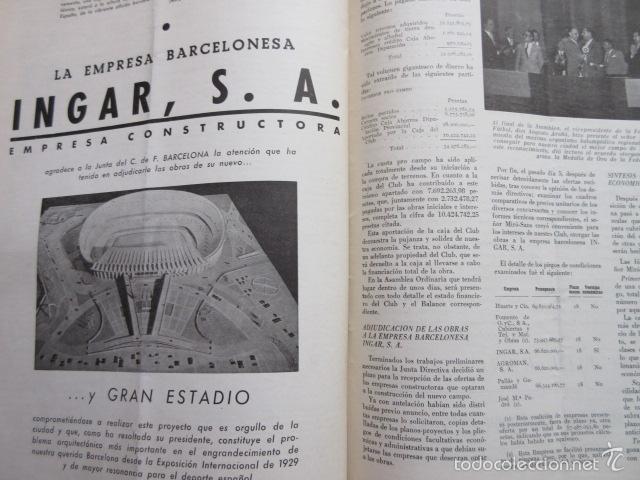Coleccionismo deportivo: BOLETIN CLUB DE FUTBOL BARCELONA AÑO 1956 Nº 14 - FOTOS NOU CAMP - Foto 2 - 58066202