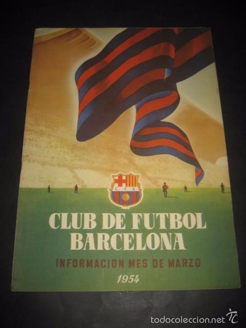 CLUB DE FUTBOL BARCELONA. REVISTA INFORMACION MARZO 1954 (Coleccionismo Deportivo - Revistas y Periódicos - otros Fútbol)