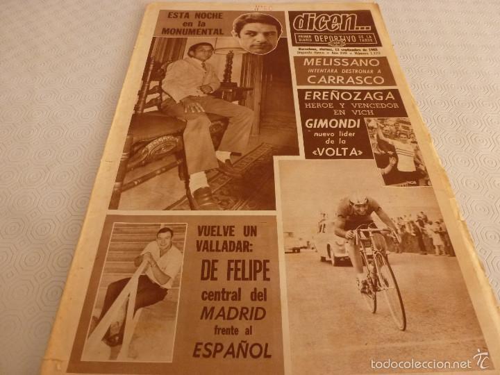 DICEN (13-9-68)CARRASCO VS MELISSANO BOXEO,DE FELIPE(R.MADRID)VOLTA-68,BASKET ESPAÑOL MEXICO,ARTIGAS (Coleccionismo Deportivo - Revistas y Periódicos - otros Fútbol)