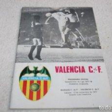 Coleccionismo deportivo: PROGRAMA FÚTBOL VALENCIA - BURGOS TEMPORADA 77-78. Lote 63335716