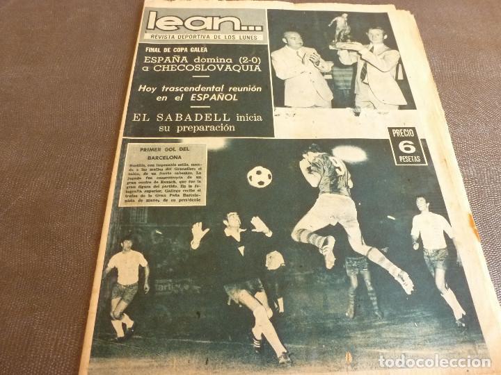 REVISTA LEAN(4-8-69)GRANOLLERS 1 BARÇA 2,HOMENAJE GALLEGO,COPA GALEA TENIS,GRAN TOUR FRANCIA. (Coleccionismo Deportivo - Revistas y Periódicos - otros Fútbol)