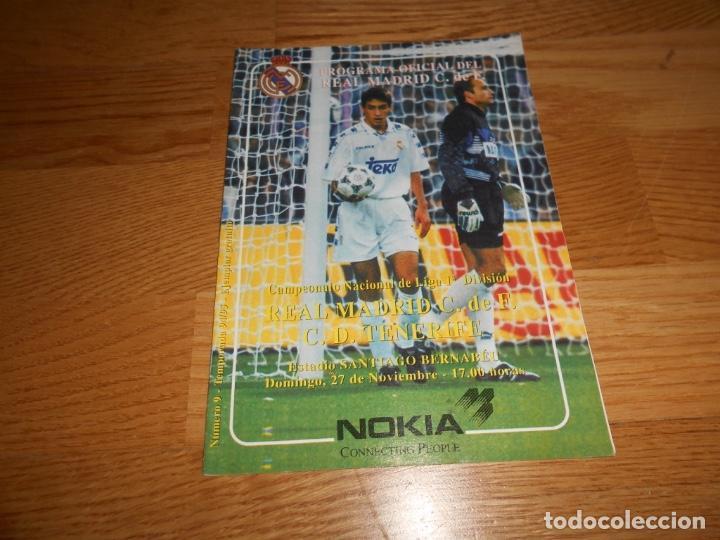PROGRAMA OFICIAL REAL MADRID CF. Y C .D. TENERIFE Nº 9 94/95 (Coleccionismo Deportivo - Revistas y Periódicos - otros Fútbol)