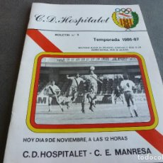 Collectionnisme sportif: (MS)BOLETIN Nº:5 C.D.HOSPITALET(9-11-86) HOY C.D.HOSPITALET-C.E.MANRESA.BARÇA A 1 HOSPITALET 0.. Lote 78101341