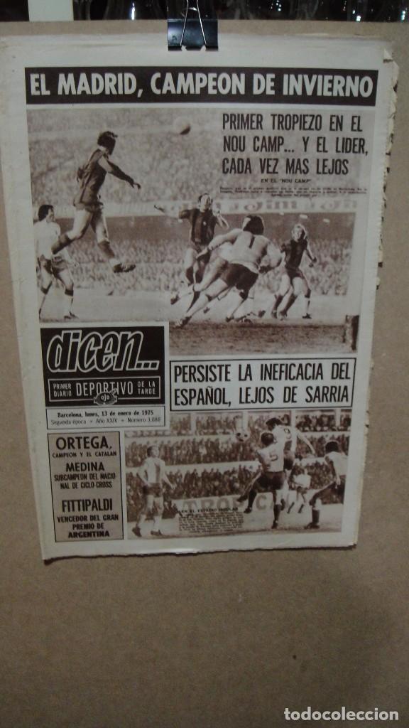 PERIODICO DEPORTIVO DICEN - ENERO DE 1975 - EL MADRID CAMPEON DE INVIERNO (Coleccionismo Deportivo - Revistas y Periódicos - otros Fútbol)