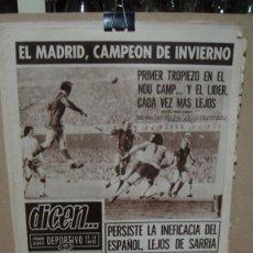 Coleccionismo deportivo: PERIODICO DEPORTIVO DICEN - ENERO DE 1975 - EL MADRID CAMPEON DE INVIERNO. Lote 78387121