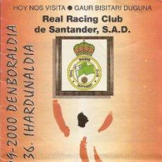 Collectionnisme sportif: PROGRAMA PARTIDO ATHLETIC CLUB-RACING DE SANTANDER. TEMPORADA 1999/2000.JORNADA 36.FÚTBOL.. Lote 79987309