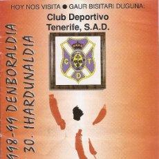 Coleccionismo deportivo: PROGRAMA PARTIDO ATHLETIC CLUB-CLUB DEPORTIVO TENERIFE. TEMPORADA 1998/1999. JORNADA 30. FÚTBOL.. Lote 80024361