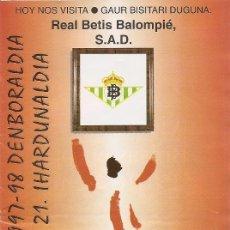 Collectionnisme sportif: PROGRAMA PARTIDO ATHLETIC CLUB-REAL BETIS BALOMPIE. TEMPORADA 1997/1998. JORNADA Nº 21. FÚTBOL.. Lote 80028761