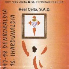 Collectionnisme sportif: PROGRAMA PARTIDO ATHLETIC CLUB-REAL CELTA S.A.D. TEMPORADA 1997/1998. JORNADA Nº 16. FÚTBOL.. Lote 80029033