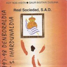 Collectionnisme sportif: PROGRAMA PARTIDO ATHLETIC CLUB-REAL SOCIEDAD S.A.D. TEMPORADA 1997/1998. JORNADA Nº 5. FÚTBOL.. Lote 80029769