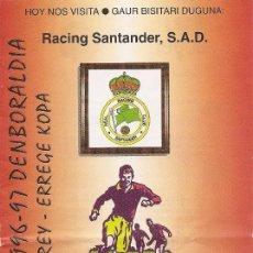 Collectionnisme sportif: PROGRAMA PARTIDO ATHLETIC CLUB- RACING DE SANTANDER. TEMPORADA 1996/1997. 1/8 COPA DEL REY. FÚTBOL.. Lote 80030953