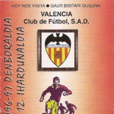 Collectionnisme sportif: PROGRAMA PARTIDO ATHLETIC CLUB- VALENCIA CLUB DE FUTBOL. TEMPORADA 1996/1997. JORNADA Nº 12. FÚTBOL.. Lote 80031557