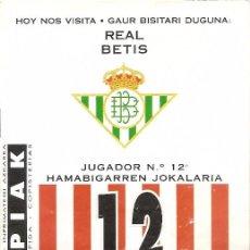 Collectionnisme sportif: PROGRAMA PARTIDO ATHLETIC CLUB-REAL BETIS. TEMPORADA 1995/1996. JORNADA Nº 27. FÚTBOL.. Lote 80033149