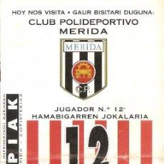 Collectionnisme sportif: PROGRAMA PARTIDO ATHLETIC CLUB-CLUB POLIDEPORTIVO MERIDA. TEMPORADA 1995/1996.JORNADA Nº 17. FÚTBOL.. Lote 80033409