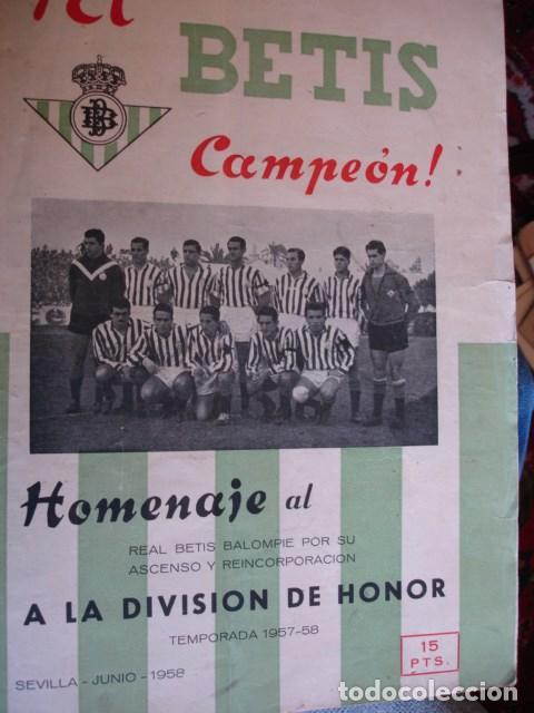 EL BETIS CAMPEON HOMENAJE ASCENSO A PRIMERA 1957-58.GRAN FOLIO FOTOS BUEN ESTADO EN GENERAL (Coleccionismo Deportivo - Revistas y Periódicos - otros Fútbol)