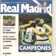 Coleccionismo deportivo: REVISTA MENSUAL, REAL MADRID, A POR TODAS-CAMPEONES, Nº 47 JUNIO 1993, FÚTBOL Y BASKET, CON PÓSTER. Lote 85045816
