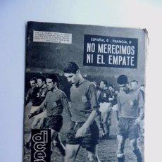 Coleccionismo deportivo: REVISTA DEPORTIVA - DICEN ( 11-1-1963 ) ESPAÑA 0 - FRANCIA 0 / EL CESE DE KUBALA - BARCELONA. Lote 88345776