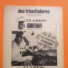 Coleccionismo deportivo: PUBLICIDAD 1972 - COLECCION ELECTRONICA - CLARION 8 PISTAS CAR RADIO JOSE MARIA JUGADOR ESPAÑOL. Lote 97197739