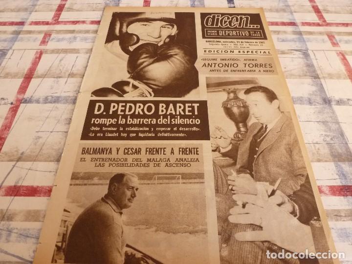 DICEN(24-2-65)PEDRO BARET,ANTONIO TORRES(BOXEO)BALMANYA Y CÉSAR,ESQUI ESPAÑOL,CONDAL. (Coleccionismo Deportivo - Revistas y Periódicos - otros Fútbol)