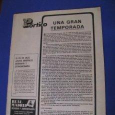 Coleccionismo deportivo: REVISTA REAL MADRID. PUBLICACIÓN MENSUAL. 1977. Nº 350. SIN PORTADA Y SIN PÓSTER. . Lote 98796131
