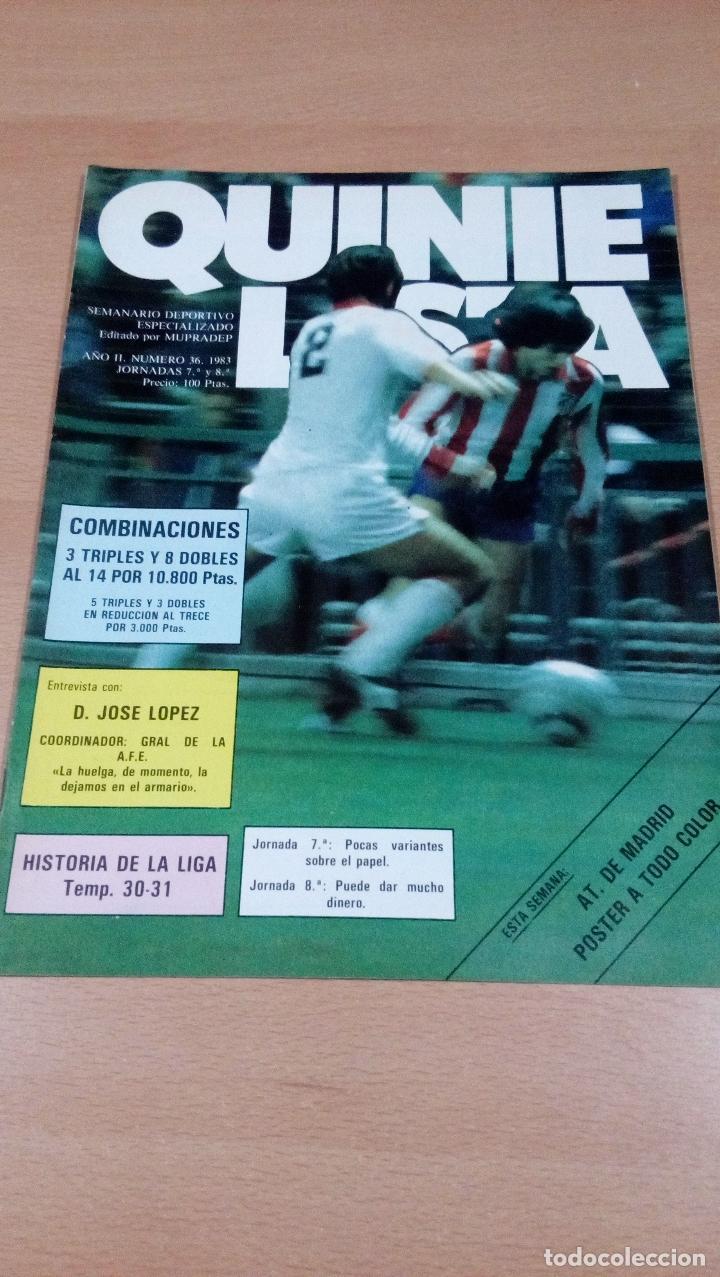 QUINIELISTA - AÑO II - NUMERO 36 - 1983 - INCLUYE POSTER ATLETICO MADRID- VER FOTOS - (Coleccionismo Deportivo - Revistas y Periódicos - otros Fútbol)