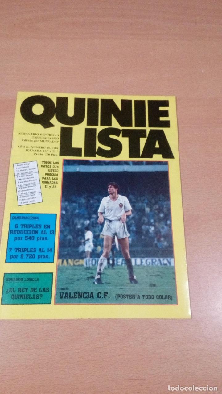 QUINIELISTA - AÑO II - NUMERO 45 - 1984 - INCLUYE POSTER VALENCIA - VER FOTOS - (Coleccionismo Deportivo - Revistas y Periódicos - otros Fútbol)