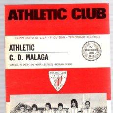 Coleccionismo deportivo: PROGRAMA OFICIAL ATHLETIC CLUB BILBAO-C.D. MALAGA. CAMPEONATO DE LIGA 1ª DIVISION. . Lote 101066647