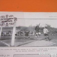 Coleccionismo deportivo: RECORTE 1928 - SALIDA EN FALSO RICARDO ZAMORA ESPAÑOL CONTRA RACING CORTESANO MADRID. Lote 103116851