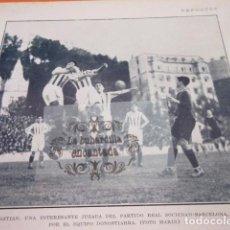 Coleccionismo deportivo: RECORTE 1928 - SAN SEBASTIAN REAL SOCIEDAD BARCELONA -- MADRID REAL MADRID RACING. Lote 103117699