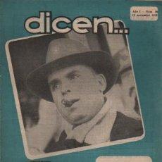 Coleccionismo deportivo: REVISTA DICEN - FUTBOL - AÑO 1º Nº 10 - 1952 JOSÉ SAMITIER PONE CLARO EL CASO CALVET. Lote 107361739